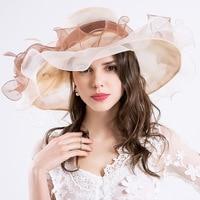 Wide Brim Hats for Women Feather Netting Fascinator Sun Hats Ladies Girl's Summer Hats for Wedding Derby Church Beach Cap
