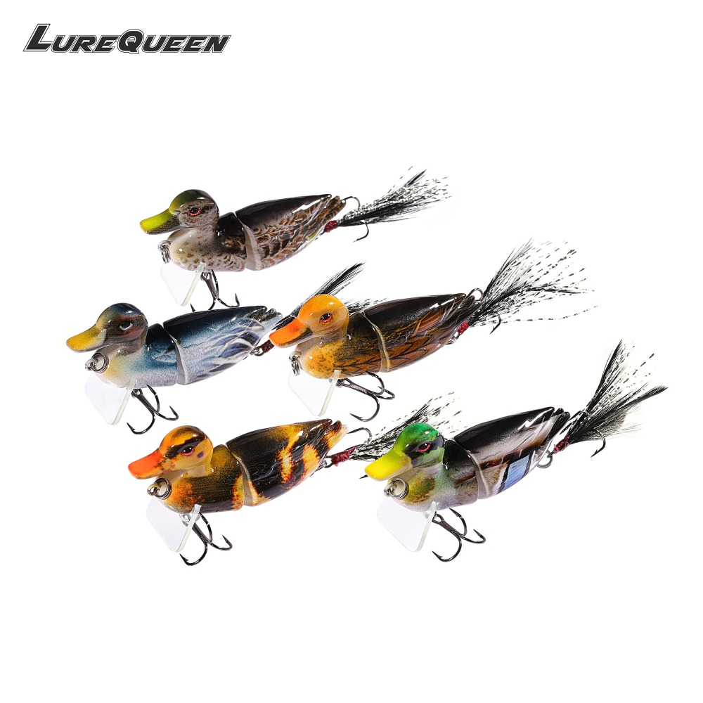 5Pcs/lot Duck Fishing Lure Crankbait Minnow Jointed Hard Baits Lifelike 3D Eye Swimbait Fishing Tackle Wobbler Topwater 2018 New allblue slugger 65sp professional 3d shad fishing lure 65mm 6 5g suspend wobbler minnow 0 5 1 2m bass pike bait fishing tackle