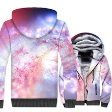 Pink Star Nebula Hoodies 2018 Autumn Winter Thick Zipper Mens Jacket Hip Hop Unisex Coat Harajuku 3D Space Galaxy