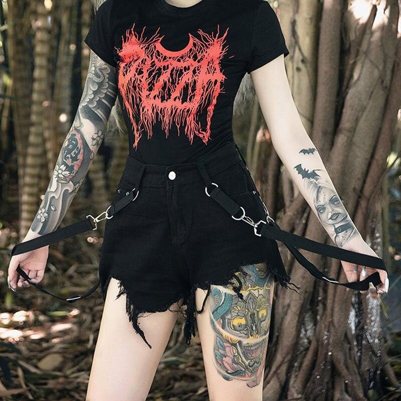 Casual Punk Sexy Club Gothic Chic Black Summer Women Shorts Loose Thin Straight Plain Asymmetric Female Tassel Harajuku Shorts