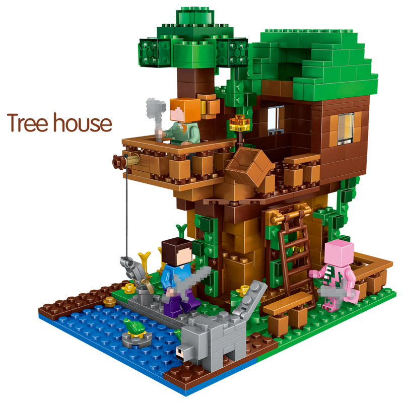 Toys & Hobbies Technic Building Blocks My World Legoing Minecrafted Sets Village The Tree House Min Kits Figures Educational Toys For Children
