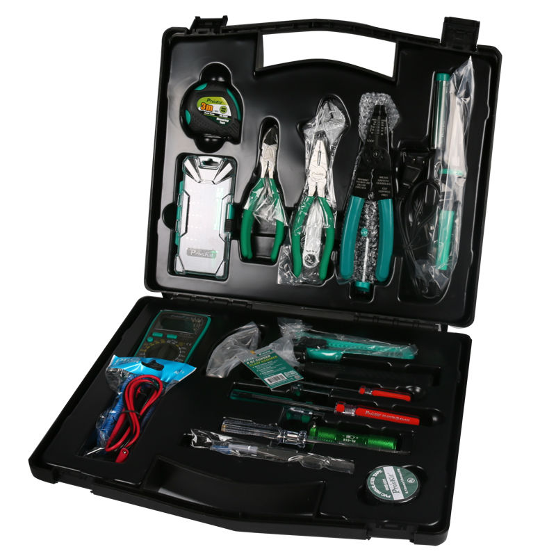 PK 2052 52pcs Hand tools set with plastic socket box screwdriver pliers hammer wrench multimter tape soldering iron tools kit