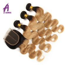 Alimice Ombre Peruvian Body Wave Hair T1B/27 Honey 2 3 4 Bundles With Closure Blonde Bundles With Closure Remy Human Hair Weave(China)