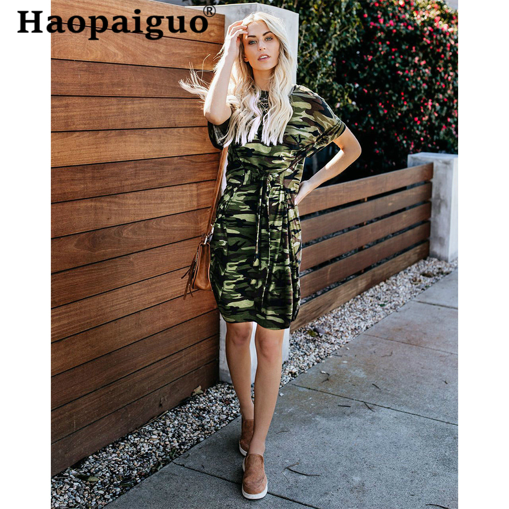 S-XXL Big Size Print Camouflage Summer Dress 2019 Short Sleeve MIni Casual Dress For Women With Bow Streetwear Ladies Dresses
