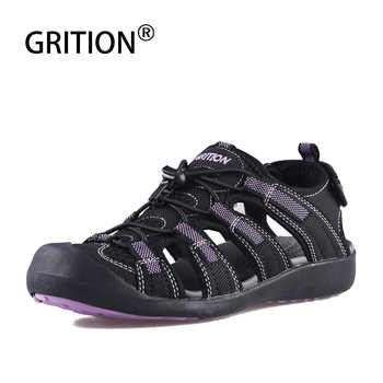 GRITION Women Outdoor Flat Sandals Summer Beach Walking Sandals Quick Dry Purple Slip On Toecap Sandals High Quality EURO Size - DISCOUNT ITEM  47% OFF Sports & Entertainment