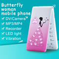 MAFAM D11 small cartoon Dual SIM card mp3 mp4 recorder women kids girls lady cute mini cell mobile phone flower P045