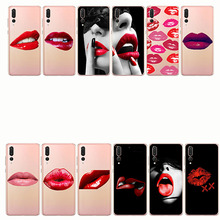 Beautiful Sexy red lips Lady woman girl Soft tpu Silicone Phone Case Cover for huawei p8 p9 lite p10 p20 plus pro