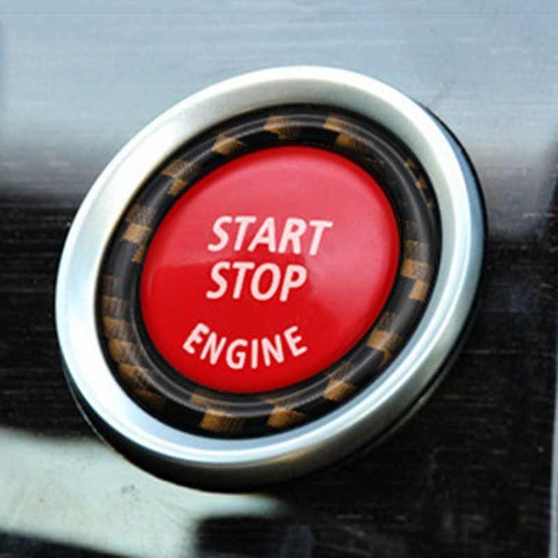 In Fibra di carbonio Auto di Inizio del Motore Pulsante di Arresto di Copertura Chiave di Accensione Adesivi Decorativi Anelli per BMW 3 Serie 5 Serie X5 e90 E92 E93