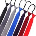 Галстук на молнии для мужчин и женщин, мужской галстук для мальчиков и девочек, костюмы, 6 см, однотонный, тонкий, для девушек, на шее, Tie Gravatas, р...