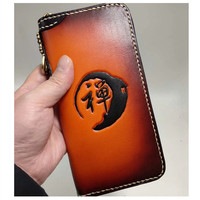 Original Design Hand made Laser Engraving Chinese Calligraphy Wallets Purses Women Men Clutch Vegetable Tanned Leather Wallet