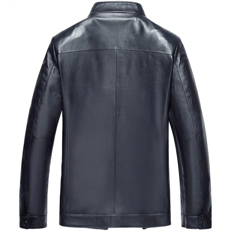 Schaffell blue Leder Black Männer Mäntel Vho Casual Mode Kurzen Biker Jacken Motorrad Echt Marke Echtem Blau Der Stand gxxTf