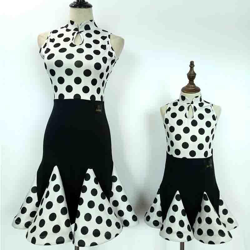 2018 New Latin Dance Suit for Girl White Black Dot Sleeveless Skirt Children Ballroom Kid Competitive Samba Tango Costume N1051