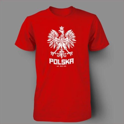 Польша польский танец Футбол Польша Футбол футболка Для мужчин 100% хлопок Печатный Пользовательские Футболка короткий рукав Размеры S до 3XL