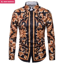 Brand Mens Luxury Floral Print Dress Shirts Chemise Homme Spring Slim Fit Long Sleeve Shirt Men Casual Stylish Camisas