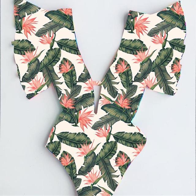Sexy Off The Shoulder Ruffle One Piece Swimsuit 2019 New Swimwear Women Swimsuit Deep-V Bathing Suits Beach Wear Swim Suit