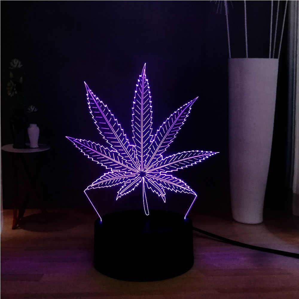 Roman acrylique plante herbe feuille de chanvre 3D Illusion LED décor chambre RGB USB Base Table nuit douce humeur lumière vacances amis cadeau