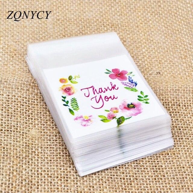 50/100 Pcs Plastik Tas Terima Kasih Kue & Permen Tas Self-Adhesive untuk Pernikahan Ulang Tahun Pesta Hadiah tas Biskuit Kue Kemasan Tas
