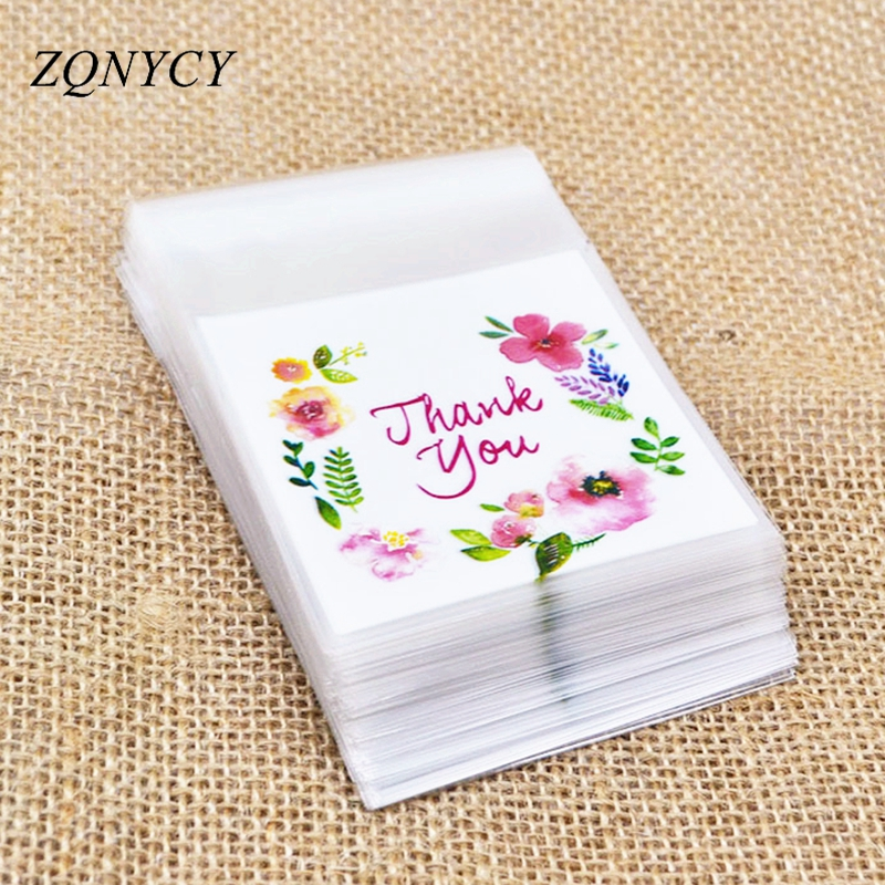 50/100Pcs Plastic Bags Thank you Cookie&Candy Bag Self-Adhesive For Wedding Birthday Party Gift Bag Biscuit Baking Packaging Bag(China)