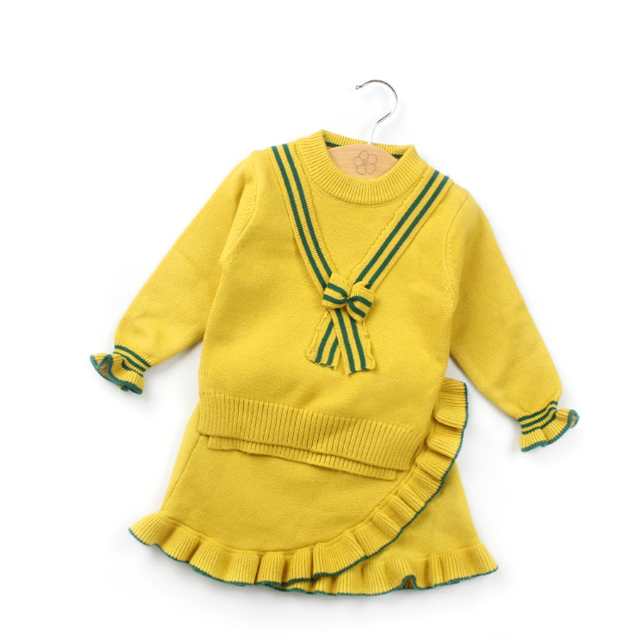 Children girls clothes cute knitted pullover top sweater and petal skirt sweater twinset suits for toddler girl fashion clothing back lace up cross crop top and high waist maxi skirt twinset