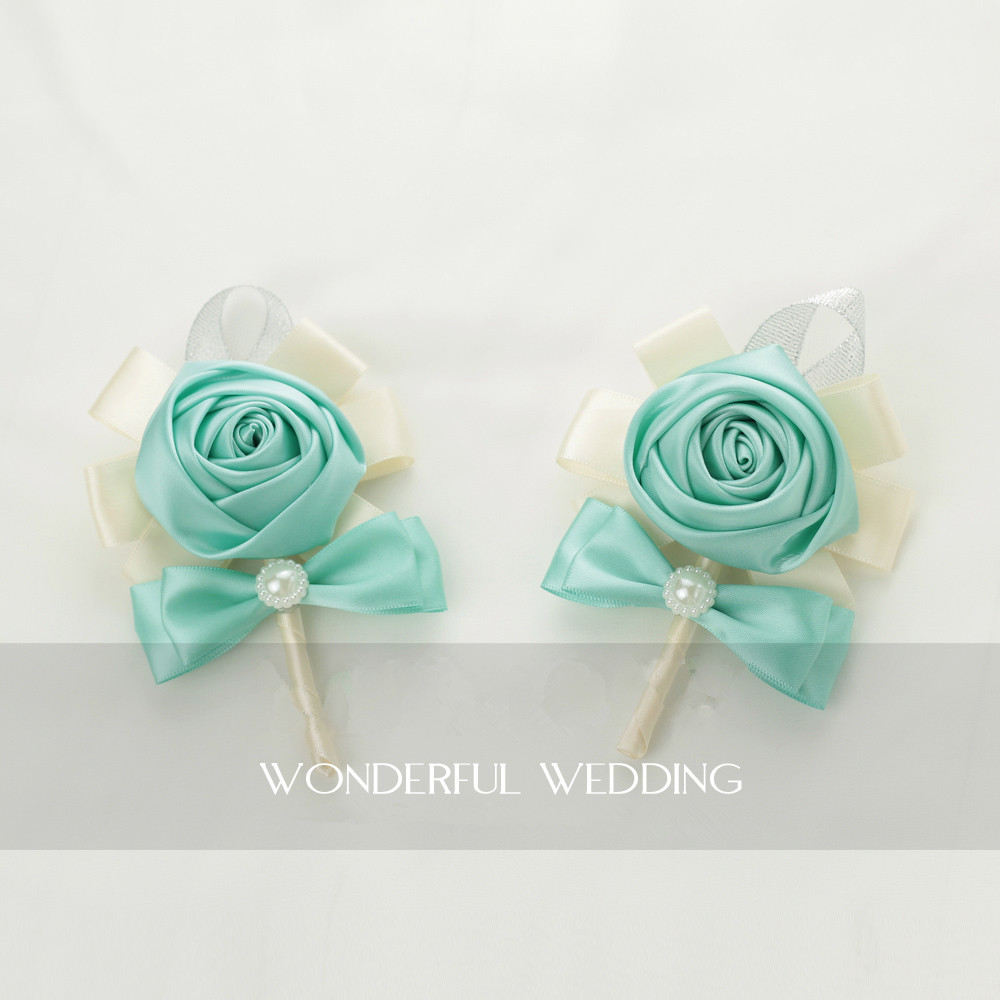 4pieces/lot handmade tiffany blue rose corsages groom and groomsmen ...