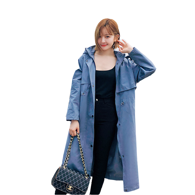 Plus Size Long Coats Women Autumn Harajuku Windbreaker 2019 New Long Sleeve Hooded Casual   Trench   Solid Fashion Female Overcoat
