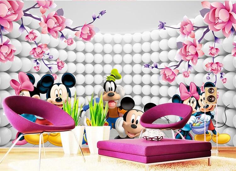 Aliexpress.com : Buy 3D Custom Wallpaper Cartoon Photo Wallpaper Mickey  Mouse Wall Murals Kidu0027s Bedroom Boys Girls Nursery Room Decor Pink Flowers  From ... Part 33