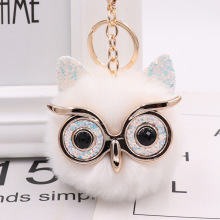 Cute Fashion Women Handicraft Gold Dust Owl Fur Cony Hair Ba