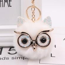 Cute Fashion Women Handicraft Gold Dust Owl Fur Cony Hair Ba
