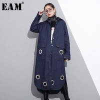 EAM 2018 New Spring Lapel Long Sleeve Blue Denim Metal Ring Hollow Out Split Joint