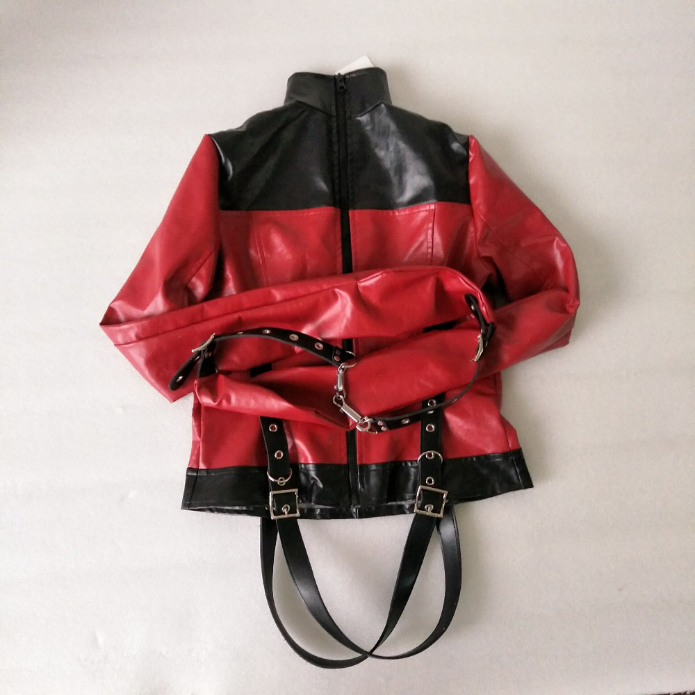 Armbinder Roleplay Restraint Headgear Leather Straight Jacket Halloween Costume S/M L/XL Slave Role Play Kit Sex Toy For Adult