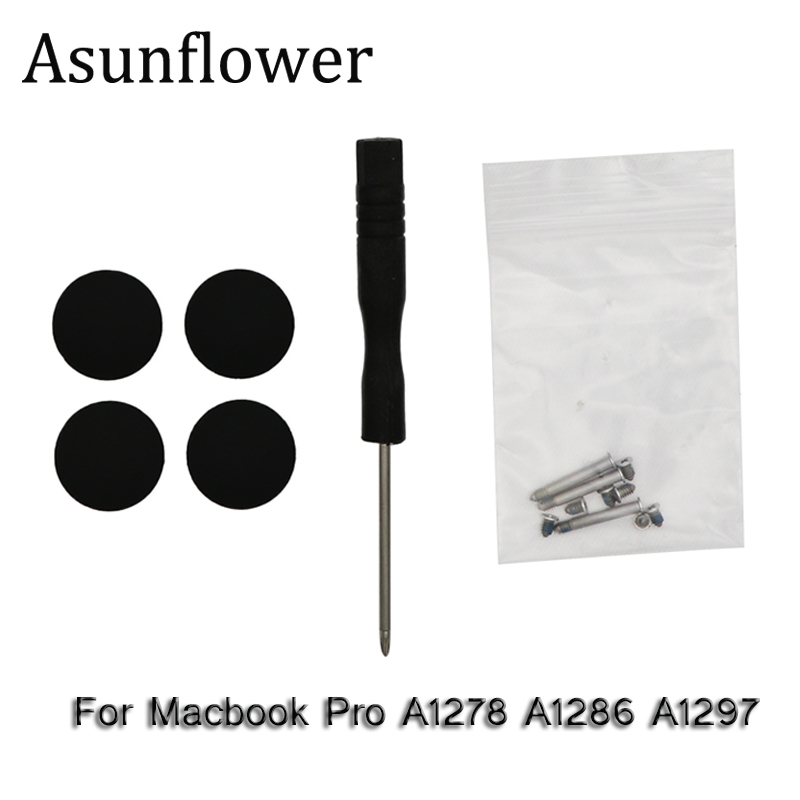 Asunflower New Bottom Case Cover Rubber Feet Foot Kit Set With Screws Screwdriver For Macbook Pro A1278 A1286 A1297 Screw Set