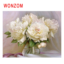 WONZOM White Rose Diy Painting By Numbers Abstract Vase Oil Cuadros Decoracion Acrylic Paint On Canvas Modern Wall Art