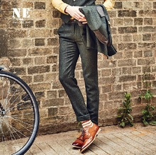NE High Quality 2015 New Autumn Winter Men 31% Wool Warm Wedding Groom Suits Blazers Pants Mid Waisted Slim Casual Retro Pant