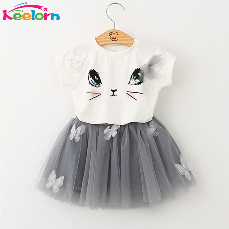 Keelorn Girls Dress 2016 Brand Kids Clothes White Cartoon Short Sleeve T-Shirt+Veil Dress 2Pcs baby girl clothes for 2-6Y