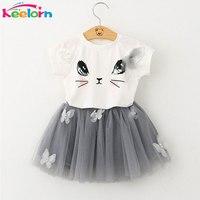 Girls Dresses 2016 Brand Girls Clothes White Cartoon Short Sleeve T Shirt Veil Dress 2Pcs Children