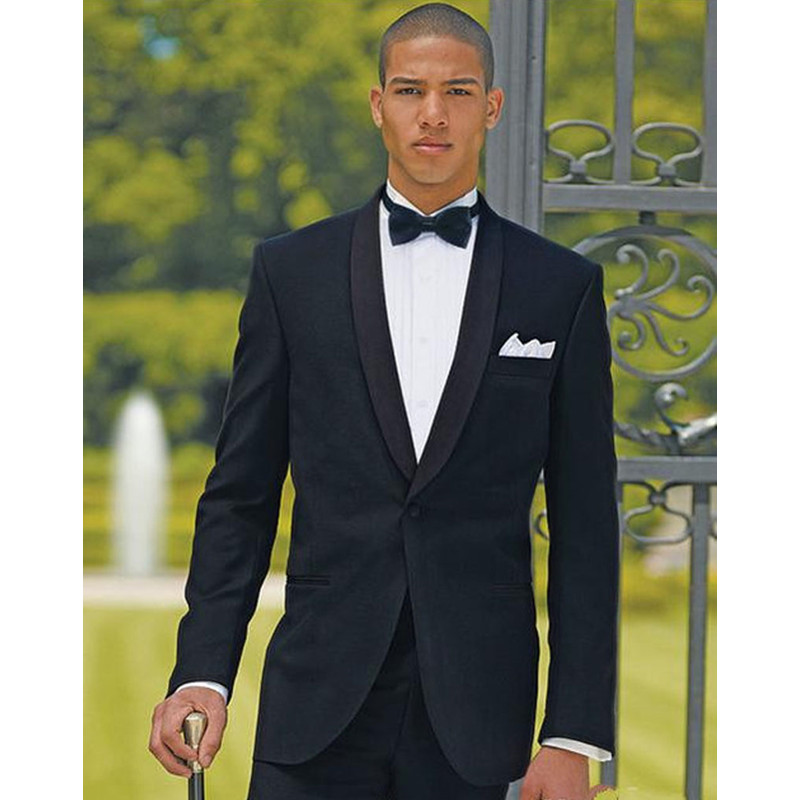 New Men Suits Black Groomsmen Shawl Lapel One Button Groom Tuxedos Men Suits Wedding Clothes 2 Psc(Jacket+Pants)