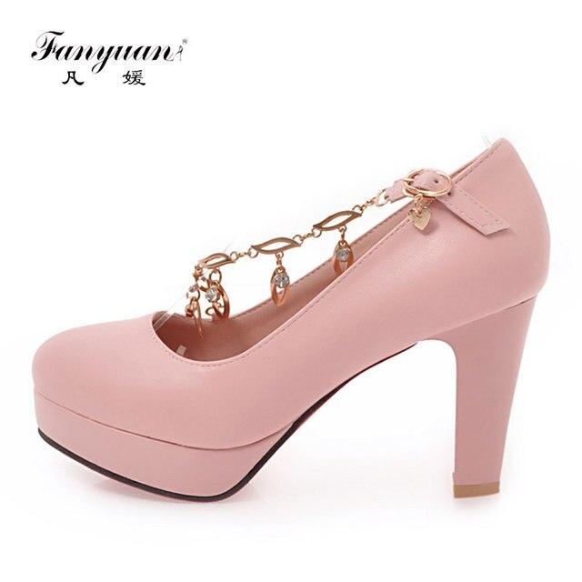 Fanyuan Women Shoes Heel Sexy Chain Chunky High Heels Rhinestone Women s  Pumps Sweet Party Wedding Wear Woman Shoes Platform f38b2ea6c854