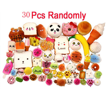 30pcs DIY Soft Funny Squishy Slow Rising Jumbo Squeeze Toast Cake Bread Panda cat ice Cream unicorn donut squishies food toys