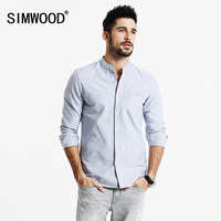 SIMWOOD 2017 Spring Shirts Men Casual Mandarin Collar 100 Pure Cotton Slim Fit Plus Size Brand