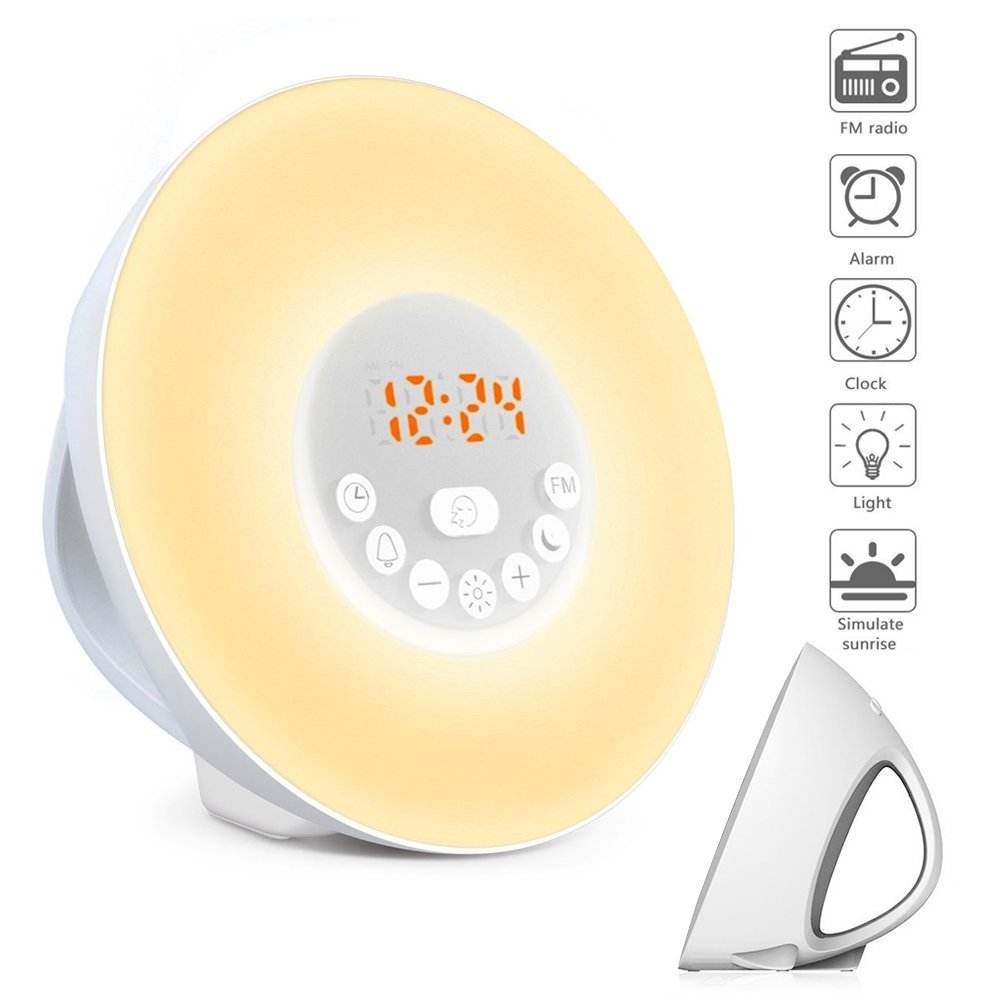 Alarm Clock Wake Up Light Sunrise Simulation Alarm Clock, Clock Radio, 7 Colors Night Light with FM Radio 7 Sounds US UK EU Plug novelty run around wake up n catch me digital alarm clock on wheels white 4 aaa