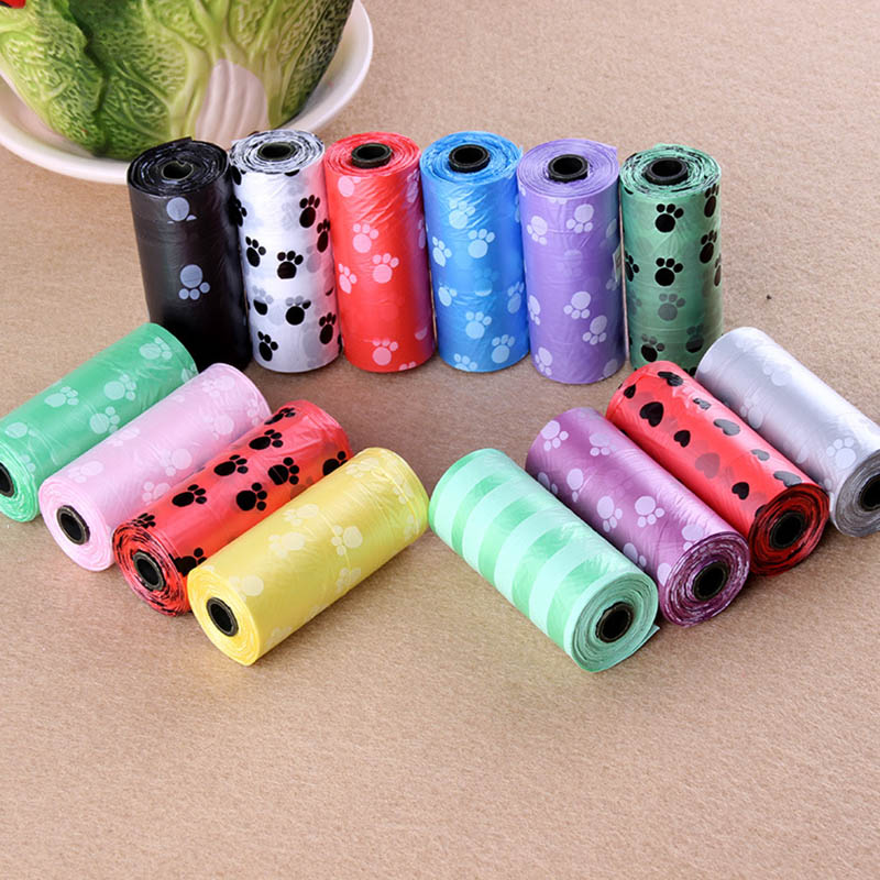 10 Roll=150 Pcs Degradable Pet Dogs Cats Waste Poop Bag With Printing Doggy Bags Toilet For Dog Clean Up Shit Picking Poop Bags