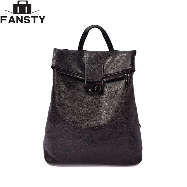 2017 New Lock Women Backpack PU Leather Female College Fashion Lady Back Bag Large Capacity Teenager Rucksack Student School Bag