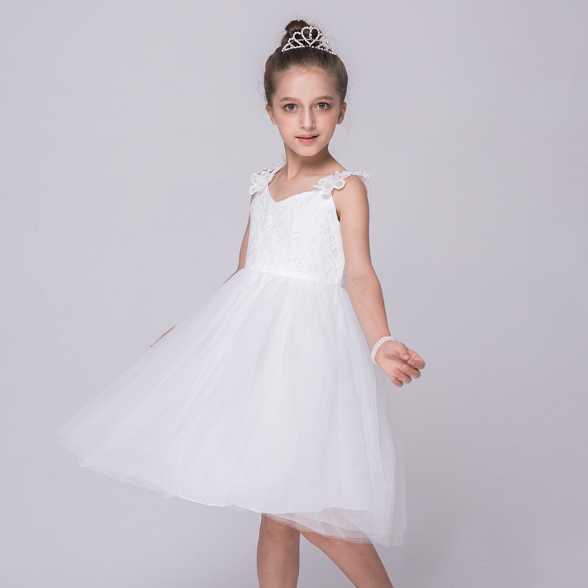 Girl Dress Flower Kids Pageant Party Wedding Bridesmaid Ball Gown Prom Princess Formal Occassion 4-12Y For Girls flower girl princess dress 2017 new fashion kid party pageant wedding bridesmaid ball bow white dress 2 4 6 8 years xdd 3271