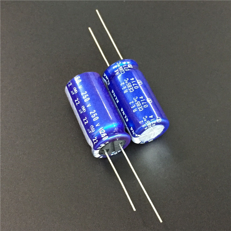 5pcs 22uF 250V ELNA RE2 Series 12.5x25mm 250V22uF Audio Aluminum Electrolytic Capacitor