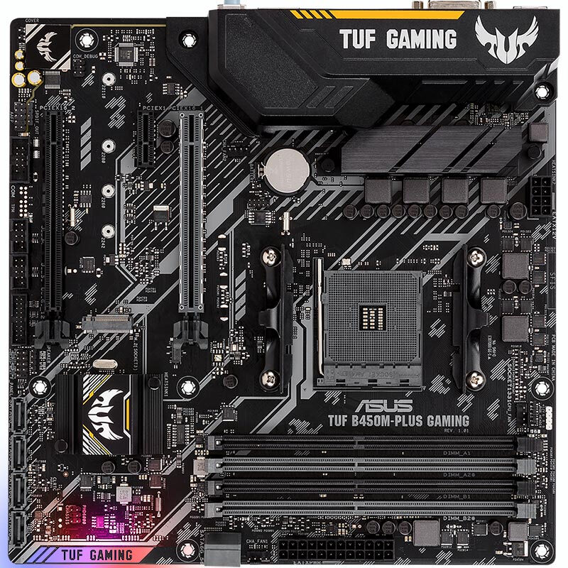 <font><b>ASUS</b></font> TUF <font><b>B450M</b></font>-PLUS <font><b>GAMING</b></font> AM4 64GB 4DDR4 1xM.26*SATA III PCI-E 3.0 HDMI DVI Micro ATX Game Board image