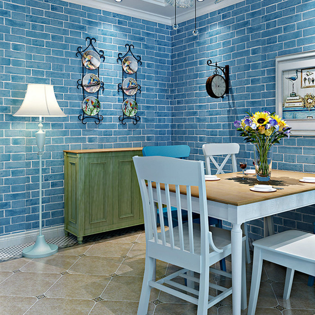 Mediterranean Style Non Woven Wallpaper 3D Stereo Embossed Blue Brick Wall Living Room Background TV