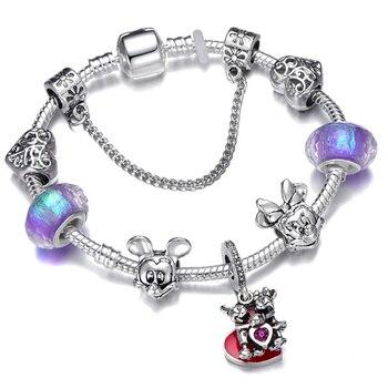 Cute Mickey Mouse Themed Bracelet Bracelets Jewelry New Arrivals Women Jewelry Metal Color: 21 Length: 18cm