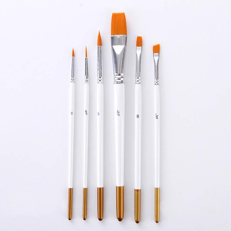 6 Pcs Water Coloring Brush Pens Nylon Painting Brushes Oil Watercolor Brush Set Pen Suit DTT88