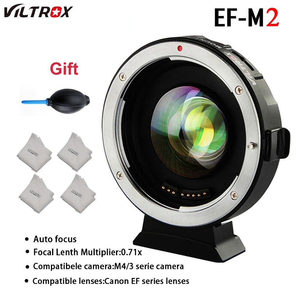 Adaptateur de lentille VILTROX EF-M2 Auto-lentille focale 0.71X Réduire la Vitesse Booste Adaptateur pour Canon EF objectif à M43 Caméra GH4 GH5 GF6 GF1