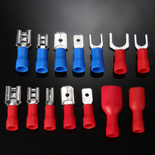 цены 140pcs/set Electrical Crimp Ring Spade Connectors Insulated Cord Pin End Terminal Wire Terminals